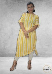 A line Cotton Exclusive Designer Yellow Kurti