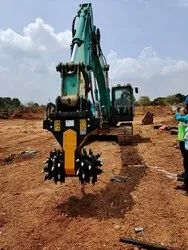 Excavator Attachments High Carbon Steel Rotary Trench Cutter On Hire, For Construction, Hydraulic Power
