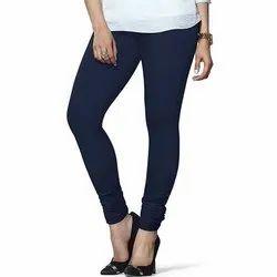 Blue Mid Waist Lux Lyra Plain Churidar Ladies Legging, Casual Wear, Size: XL-XXL