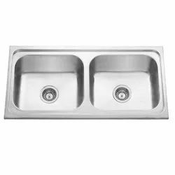 Stainless SteelSquare Double Bowl Kitchen Sink, Size - 37x18''x8