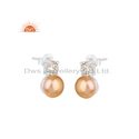 Pink Pearl CZ Gemstone Silver White Rhodium Earrings Jewelry