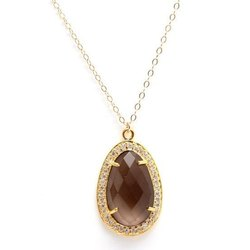 Smoky Quartz Pave Set Necklace