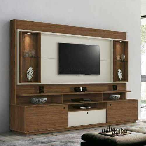 Living Room Cabinet Design In India: Brown Modern Wooden TV Wall Unit, Rs 1200 /square Feet