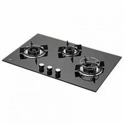 Black Toughened Glass Kaff 3 Burner Gas Stove, Size: 70 Cm