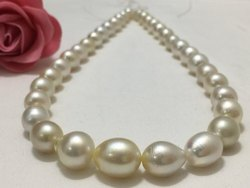 SSGJ South Sea Pearl Strand 9-13 mm Size, Oval Shape, Cream Color shree shyam gems and jewellery