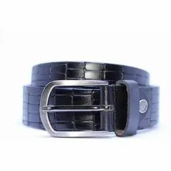 Fiume Textured Black Leather Belt