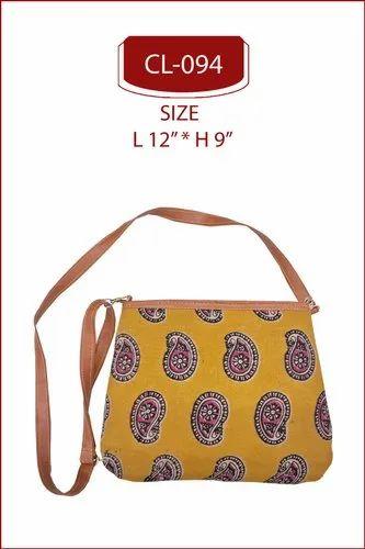 Kalamkari Printed Sling Bag . Kalamkari Sling Bag .