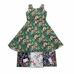 Casual Wear Kids Green Flower Printed Designer Gown
