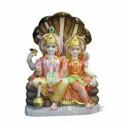 Sitting Marble Laxmi Vishnu Statue