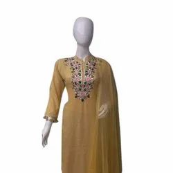 Casual Wear Ladies Embroidered Rayon Suit, Size: S-XXL