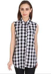 White and Black Checks Cotton Top