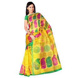 Yellow Printed Kota Doria Saree
