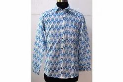 Blue Bootie Block Print Shirt Azo Free Fabric Shirt