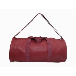 Red Plain Leather Duffle Bag, For Travel