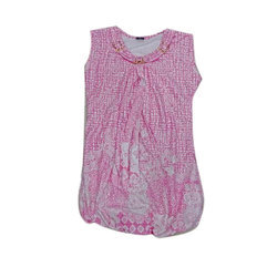 Girls Kids Sleeveless Round Neck Printed Top