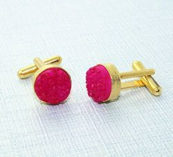 Pink Chalcedony Beautiful 12mm Gemstone Sterling Silver Cufflinks