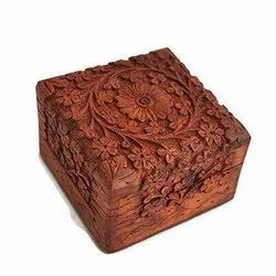 Brown Handcrafted Wooden Box, Size: 4x4x2.25 Inch