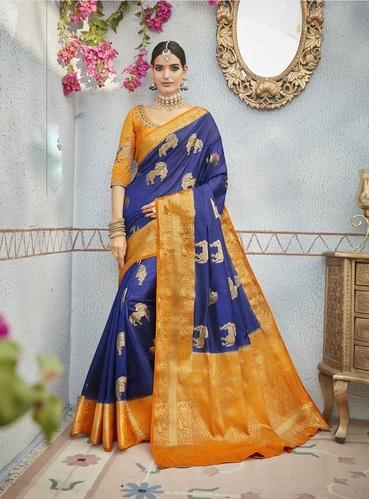 Banarasi Silk Blue Embroidery Designer Saree