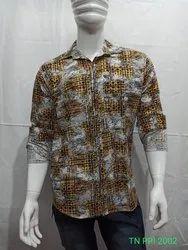 Printed Collar Neck Mens Cotton Casual Shirt