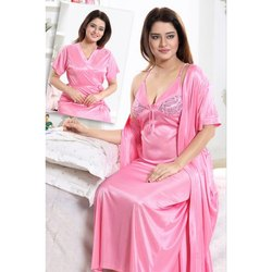 Full Length Half Sleeve Ladies Pink Satin Nighty