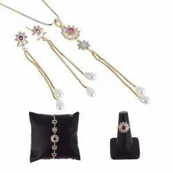 Ankur Luxurious Gold Plated American Diamond Combo Pendant Set Valentine Gift For Women