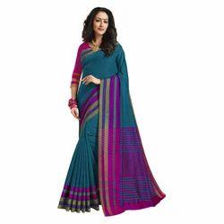 Blue Color Chanderi Banarasi Cotton Weaving Sari With Blouse Piece