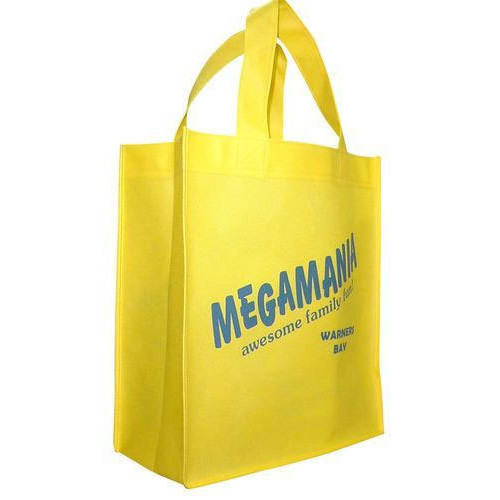 Yellow Handled Non Woven Promotional Bag, Capacity: Up to 3 Kg