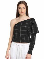 Printed Casual Beautiful Designer Poly Crepe Black One Shoulder Top