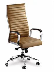 Brown Leatherette Silver Arrow, Designer Chair, Warranty: 3 Year