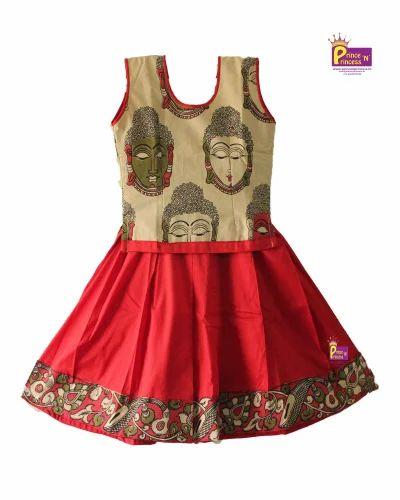 3ccbf83157e7 Red With Cream Cotton Kids Kalamkari Pattu Pavadai, Rs 650 /piece ...