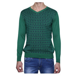 Woolen Pullover Mens Green Casual Sweater