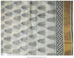 Border Cotton Block Printed Karela Handloom Saree, With blouse piece