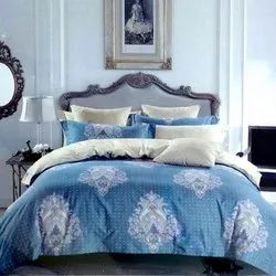 Sig. Trump Blue Printed Double Bed Sheet