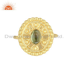 Peridot Gemstone Handmade 925 Silver Designer Gold Plated Ring Jewelry