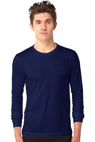 60bf1ddc5f Men Navy Blue 100% Cotton Full Sleeve T Shirt, Rs 170 /piece | ID ...
