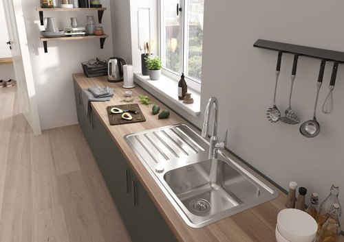 Single 42 X 20 X 9 Stainless Steel Drain Board Kitchen Sink Rs 2145 Piece Id 22115250891