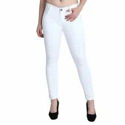 Regular mid rise ZXN Clothing Women Premium Stretchable Slim Fit White Denim Jeans