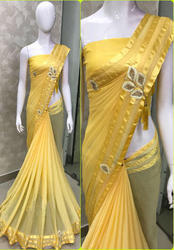 Heavy Georgette Yellow Saree