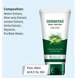 Herbal Dermitas Neem And Aloe Vera Face Wash, Packaging Size: 60ml