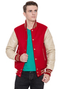 Scarlet Wool Body With Cream Varsity Jacket - Men