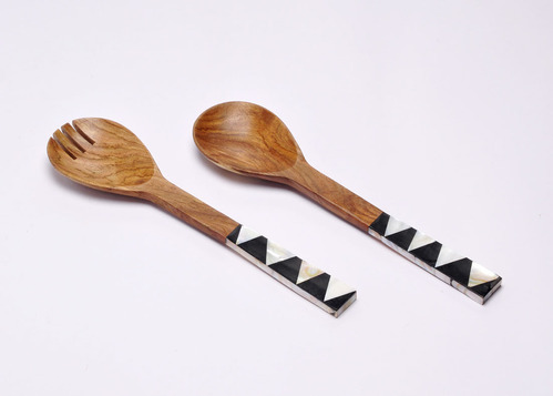 Mna Impex Natural Black Wooden Salad Servers With Mop Handles Rs