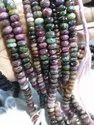 Multi Tourmaline Faceted Roundel Beads, Size: 8mm