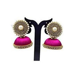 Pink And Golden Silk Thread Earrings