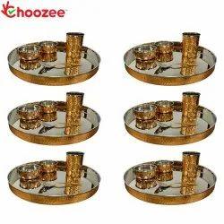 Choozee - Copper Thali Set of 6 (30 Pcs) Thali, Bowl, Spoon & Glass