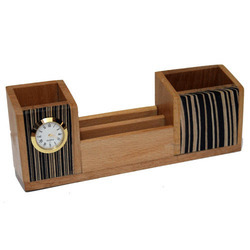 Wooden Fish Clock Pen Stand