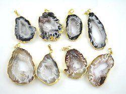 Agate Geode Slice Druzy Pendant