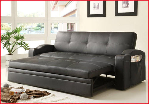 Black Leather Convertible Sofa Bed