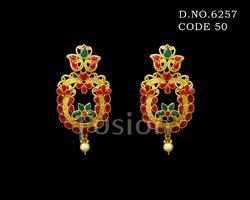 Traditional Polki Matt Polish Earring