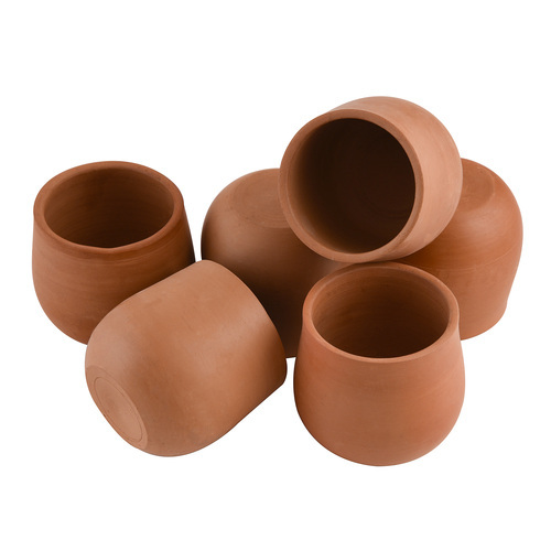 Style My Way Brown Handcrafted Earthen Clay Kullads & Glasses