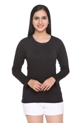 Casual Round Full Sleeve Cotton T Shirt for Women/Girls, Size: S, M, L